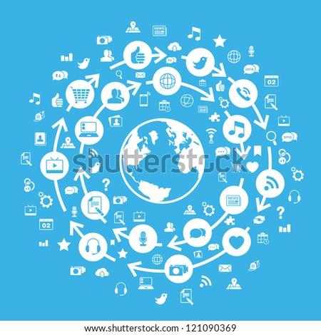 Internet Social Media Globe Blue - stock vector