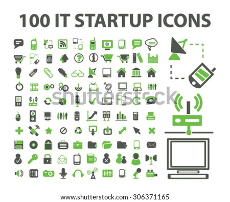 internet technology startup icons set, vector - stock vector
