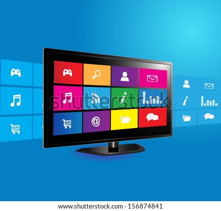 Internet television concept: colorful application icons on blue background  - stock vector