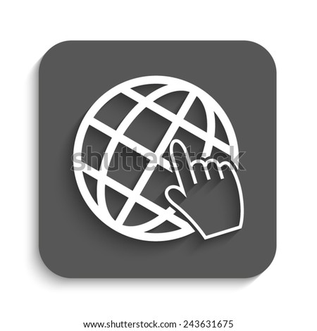 Internet - vector icon with shadow on a grey button - stock vector