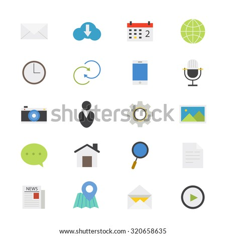 Internet Web and Mobile Flat Icons color - stock vector
