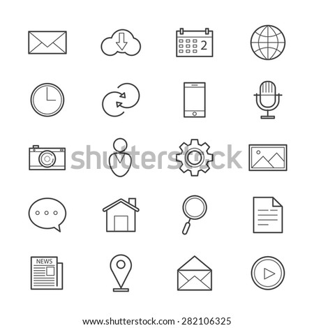 Internet Web and Mobile Icons Line - stock vector