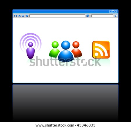 Internet Web Browser with Tools Original Vector Illustration - stock vector
