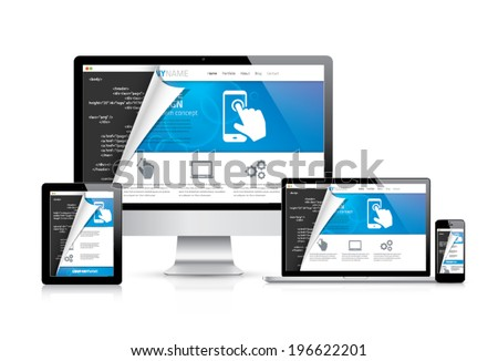 Internet web coding development with modern flat cool design. Vector illustration EPS10. - stock vector