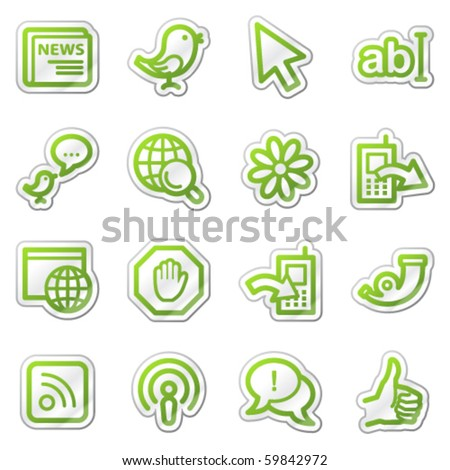 Internet web icons, green contour sticker series - stock vector