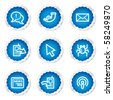 Internet web icons set 2, blue stickers series - stock vector