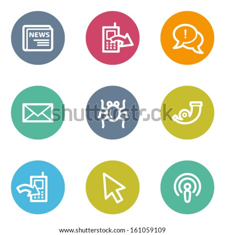 Internet web icons set 2, color circle buttons - stock vector