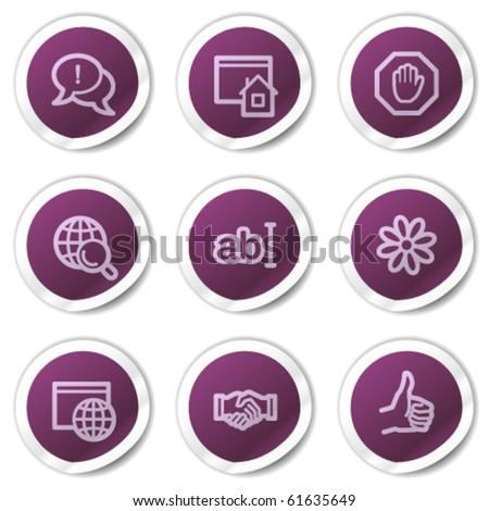 Internet web icons set 1, purple stickers series - stock vector