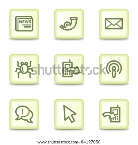 Internet web icons set 2, salad green buttons - stock vector