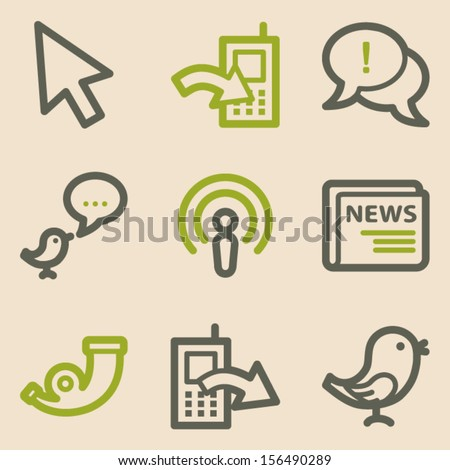 Internet web icons set 2, vintage series - stock vector