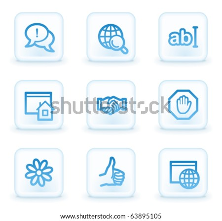 Internet web icons set 1, white square buttons - stock vector