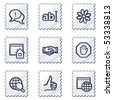 Internet web icons set 1, white stamp series - stock vector