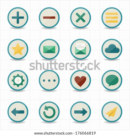 Internet web mobile icons with white background - stock vector