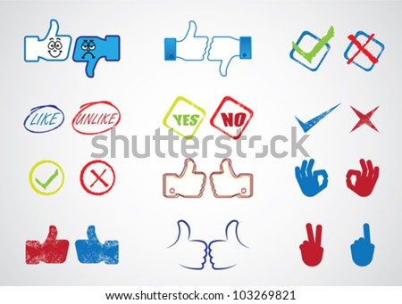 Internet website icons for approval, disapproval, like, unlike, yes, no, thumb up, thumb down, right, wrong, correct, incorrect, etc. used in sites like facebook - stock vector