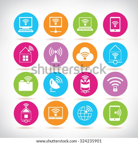 internet wifi icons - stock vector
