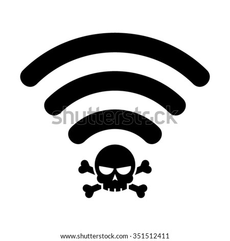 Internet Wifi Wireless Dangerous Virus Spam Hacker Vector Icon - stock vector