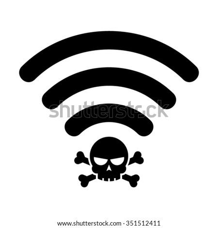 Internet Wifi Wireless Dangerous Virus Spam Hacker Vector Icon - stock vector