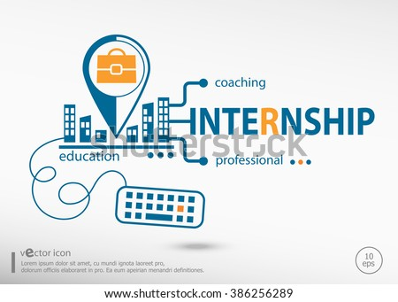 Internship Concept for business.  Internship concepts for web banner and printed materials.  - stock vector