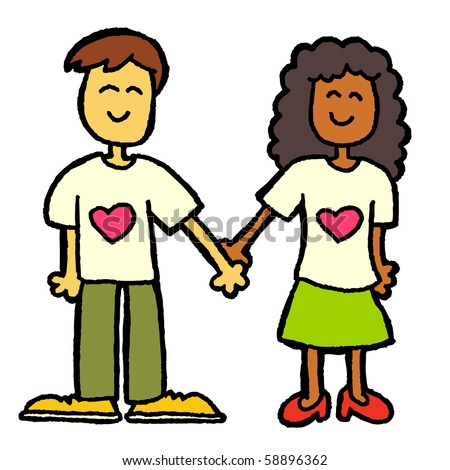 interracial couple - stock vector