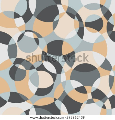 intersected circles mosaic seamless pattern orange, grey, blue - stock vector