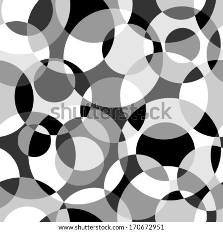 intersected monochromatic circles mosaic seamless pattern - stock vector