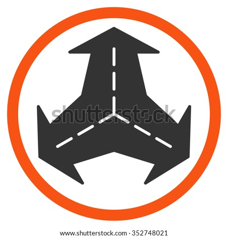 Intersection Directions vector icon. Style is bicolor flat circled symbol, orange and gray colors, rounded angles, white background.