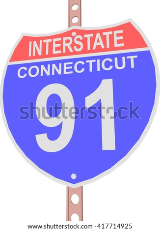 Interstate highway 91 road sign in Connecticut