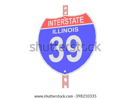 Interstate highway 39 road sign in Illinois - stock vector