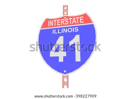Interstate highway 41 road sign in Illinois - stock vector