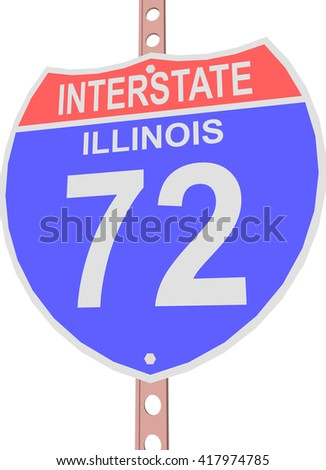 Interstate highway 72 road sign in Illinois - stock vector