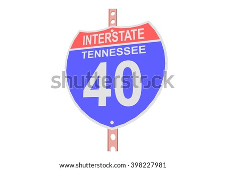 Interstate highway 40 road sign in Tennessee
