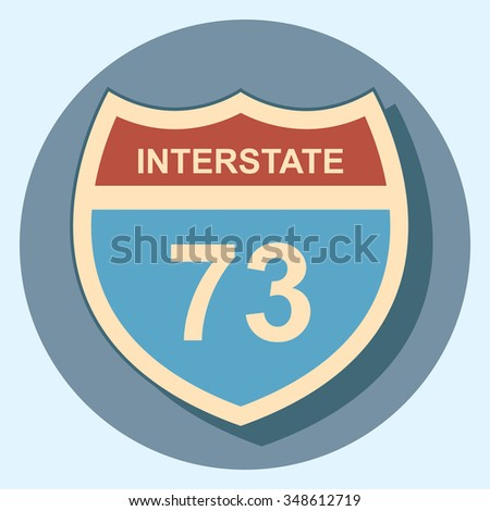 interstate sign circle icon with shadow