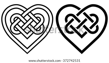 Intertwined Heart in Celtic Knot. Two Variants - stock vector