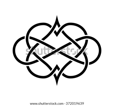 Intertwined Hearts Isolated. Forever Love Tatoo - stock vector