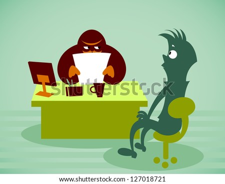 Interview for work. Vector illustration on a background - stock vector