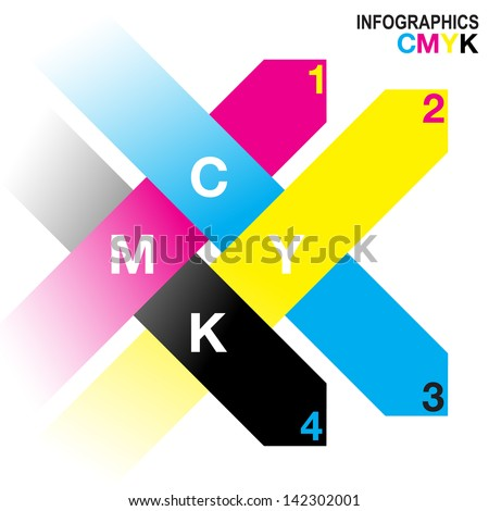 Interwoven arrow Infographic design in CMYK colour scheme. EPS10 vector file with simple gradients - stock vector