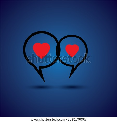 intimate couple doing love talk - concept vector line icon. This chat or talk symbol with heart symbol also represents intimate relationship, deep communication, close interaction - stock vector