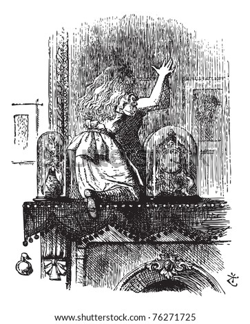 """Into the Looking Glass Room - Through the Looking Glass and what Alice Found There original book vintage engraving. """" Let's pretend there's a way of getting through into it, somehow, Kitty... - stock vector"""