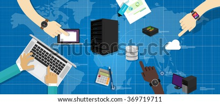 intranet network computer server database router cloud internet interconnected world map IT infrastructure management - stock vector