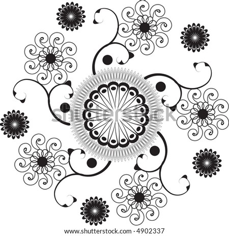 Intricate abstract floral vector tile. - stock vector