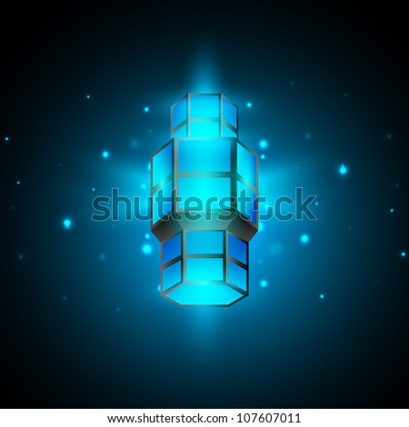 Intricate Arabic lamp with lights on shiny blue background. EPS 10. - stock vector