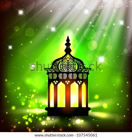 Intricate Arabic lamp with lights on shiny green background. EPS 10. - stock vector