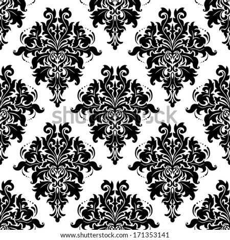 Intricate black and white foliate arabesque repeat seamless pattern with acanthus leaves suitable for print and textile such as damask - stock vector