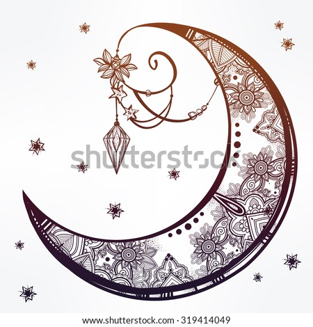 Intricate hand drawn ornate crescent moon with feathers, gemstones. Isolated Vector illustration.Tattoo art, astrology, spirituality, alchemy, magic symbol. Ethnic, mystic tribal  element for your use - stock vector