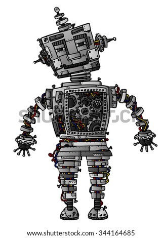 Intricate, hand-drawn sci-fi robot vector illustration