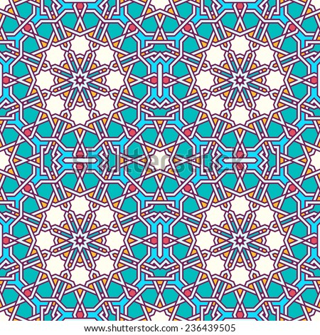 Intricate moorish eastern pattern. Seamless vector background. Plain colors - easy to recolor. - stock vector