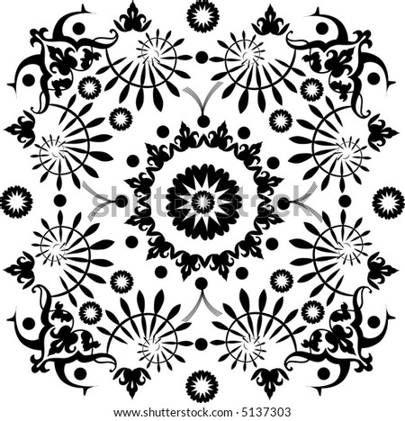 Intricate vector square ornament tile with deco-style elements. - stock vector