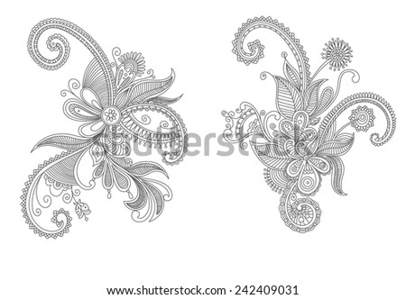 Intricate vintage swirling black and white Persian vector floral elements - stock vector