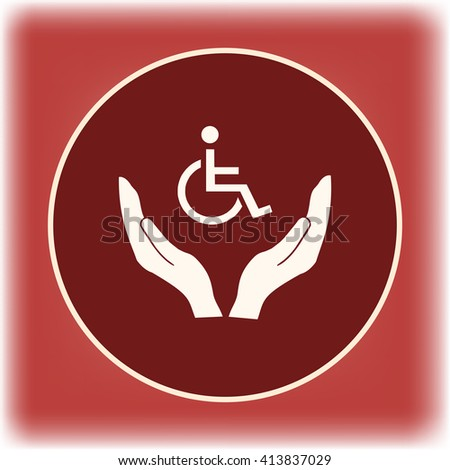 Invalid sign on a hand icon, Vector illustration. Flat design style - stock vector