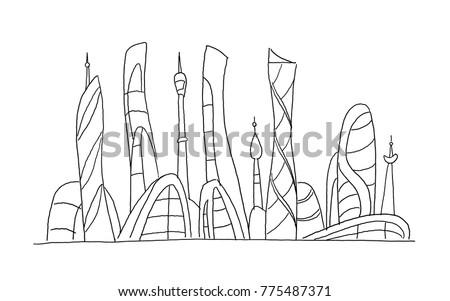 Invented City Fantastic Incredible And Utopian Skyscraper Sketch High Rise Buildings Hand Drawn Vector